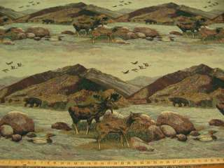 Rocky Mountains scenic tapestry upholstery fabric ft720