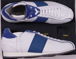 FENDI SHOES $520 WHITE/COBALT BLUE LOGO LOW PROFILE TRAINERS 11D 44e