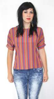 Disco STRIPED Day Glo Indie Draped MOD Bohemian Indie Dress Top Blouse