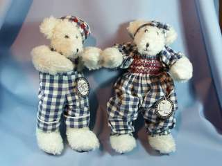 PAIR of PLUSH White Bears Dressed in Calico by BE BOY & GIRL NWT