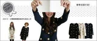 Cute Japanese Korean Fashion Style Circle Woolen Dots Long Sleeve Tee
