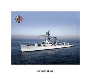 USS EDSON DD 946 , US Naval Destroyer, USN Navy Ship Print