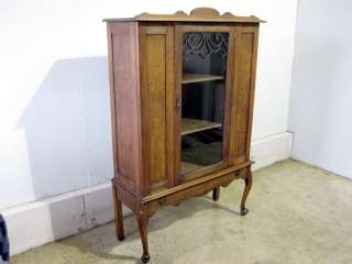 Antique Burl Walnut China Cabinet Or Bookcase w Glass |