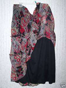 LONG HIPPIE FLORAL PRINT SKIRT LACED AND CHIFFON NWT