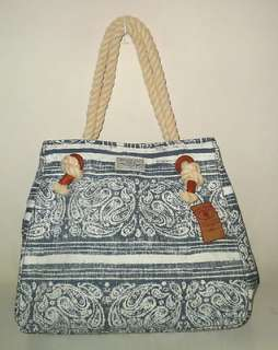 NEW LUCKY BRAND HANDBAG DAISY XL TOTE BAG BLUE PAISLEY CANVAS W ROPE
