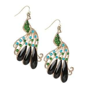 ER0041 Peacock Multi Color Faux Diamond Bead Fashion Accessories