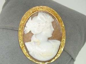 VICTORIAN 10K GOLD CARVED SHELL CAMEO PIN/PENDANT