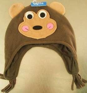 MONKEY HAT CAP FLEECE ANIMAL KIDS BOYS BROWN WARM NEW BOUTIQUE WINTER