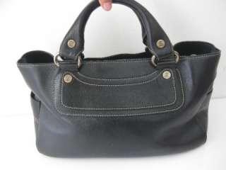 CELINE BOOGIE Black Pebbled Leather Satchel Bag