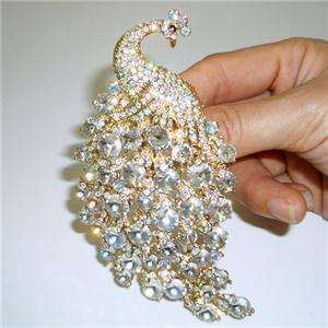 33 H Quality Peacock Brooch Pin w/ Swarovski Crystal