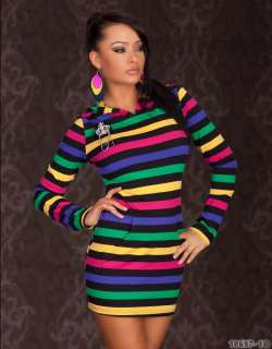 Sexy Hooded Multi coloured long top/mini dress UK 10/12 EU 38/40