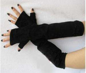 50cm(19.7) long no finger suede leather gloves*black