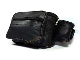 Waist/Bum Bag Black soft Leather belt Travel fanny pack