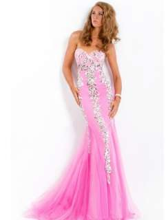 Hot Pink Tulle Applique/Beaded Mermaid Bridal Party Prom Dress Evening