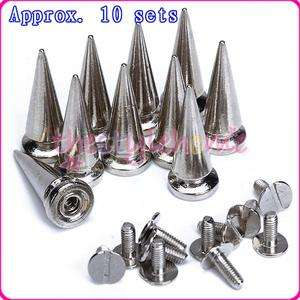 10 Silver Cone Rock Spikes Screwback Spike Studs Leathercraft 25mm