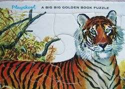 PLAYSKOOL MOTHER TIGER CUB TIGER Golden Press A BIG GOLDEN BOOK PUZZLE