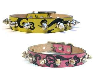 Hand painted skulls Small Dog Cat Leather Collar Spiked/studs/spikes