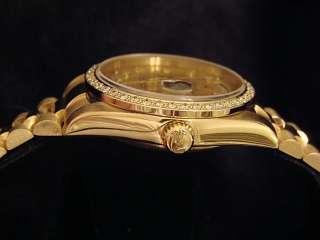 MENS ROLEX 18K YELLOW GOLD DAY DATE PRESIDENT DIAMOND