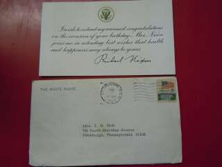 Richard Nixon singed birthday card with envelope 1969