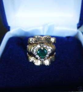 Natural EMERALD HEART Ring 14K GOLD 14 Diamonds