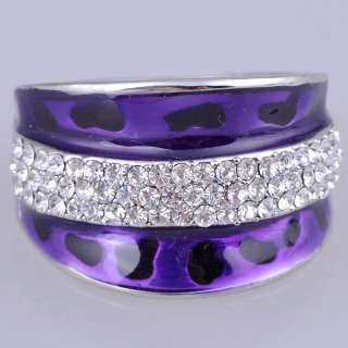 Womens Band New Crystal Ring Purple Enamel Gold GP Rings Fashion