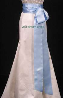 Light Blue Double Faced Satin Ribbon Sash Bridal Wedding Bridesmaid