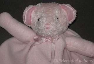 Fleece TEDDY BEAR Security Blanket Baby Girl Lovey Satin Trim Heart