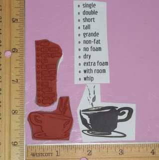 CUP & TYPES OF COFFEE LOT cling rubber stamps CLUB SCRAP low shipping