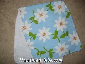 HANDMADE BABY BURP CLOTHS CONTOURED SHOWER GIFT DAISY FLOWERS