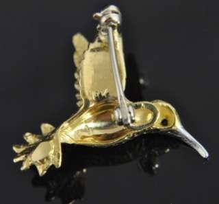 Estate Vintage Two Tone 18K Gold Hummingbird Ruby Bird 3D Animal Pin