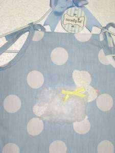 Mud Pie Blue White Polka Dot Dress w/ Bunny Sz 12 18mo