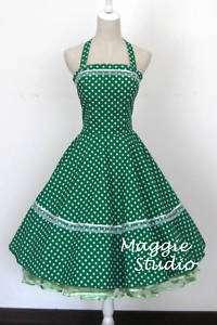 50er Jahre Tanz Kleid zum Petticoat Rockabilly Grün 503