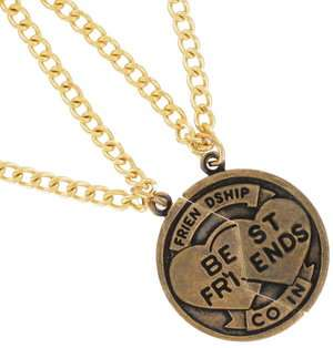 Necklace BFF Set Friendship Coin Best Friends Gold Tone Pendant