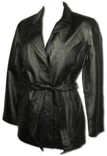Womens Long Cut Genuine Soft Black Leather Jacket with Belt 8085LT