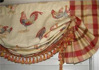 Custom French Country Balloon VALANCE Curtain Red Gold Rooster Toile