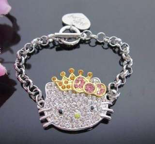 HELLO KITTY Pink golden Bow Crown Princess Bracelet Z22