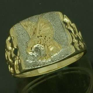 10K Yellow Gold Diamond Mens Eagle Nugget Ring