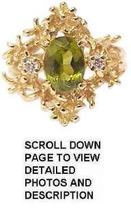 Gorgeous Retro Solid 14K Gold Peridot & Diamond Ring