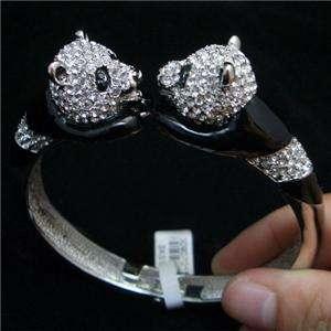 Swarovski Crystal 2 Chinese Panda Bracelet Bangle Cuff