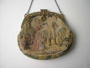 ANTIQUE FRENCH JEWELED BRASS FRAME CHAIN SMALL PURSE COIN PURSE FRANCE