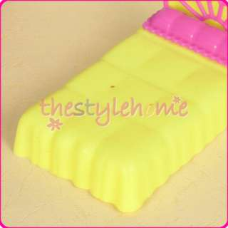 cute Barbie Sister Kelly Doll Bed Yellow Miniature Furniture parts