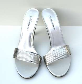 Seduce Silver Sexy High Heel Womens Sandals Shoes (Retail $48)