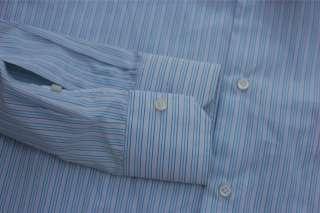 NWT 12 Isaia Napoli Mens Blue Purple Stripe Dress Shirt Spread Collar