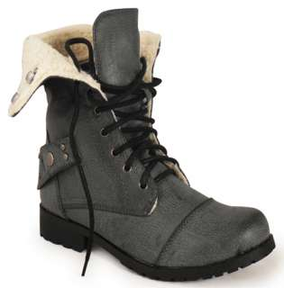 LADIES BLACK FUR COLLAR MILITARY ARMY BOOTS SIZES 3   8