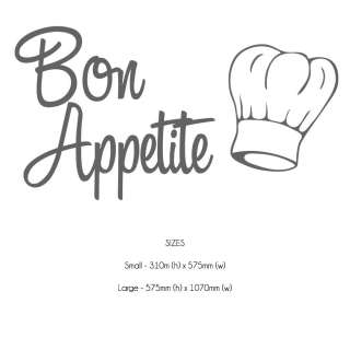 Bon Appetite Kitchen Wall Sticker Decal   19 Colours