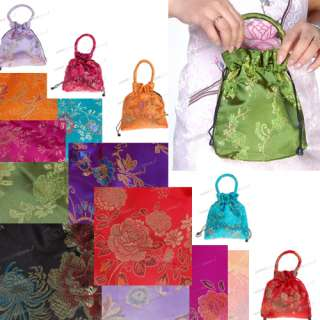 10 Color Satin Chinese Embroidery Party Favor Gift Bag