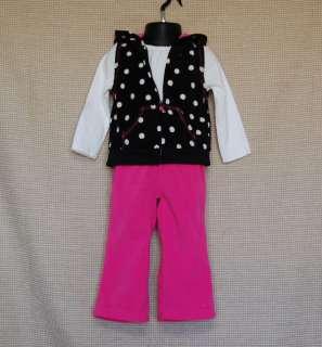 Carters Baby Girl Fleece Black Polka Dot Vest Shirt Pink Pants Set