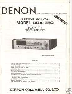 Original Denon Service Manual DRA 350 Receiver |