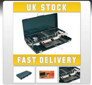 PORTABLE DOUBLE GAS DUAL 2 BURNER CAMPING COOKER STOVE