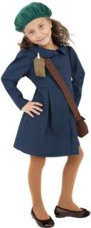 WORLD WAR II EVACUEE GIRL FANCY DRESS COSTUME AGE 9 12